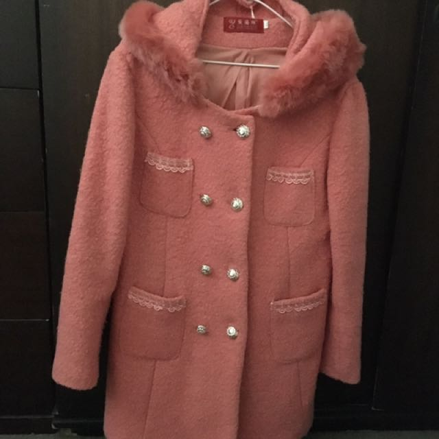 Pink Hooded Wool Coat Size L