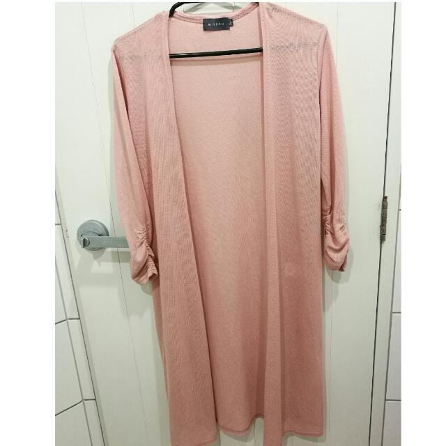 Mirrou Pink Long Knit Cardigan