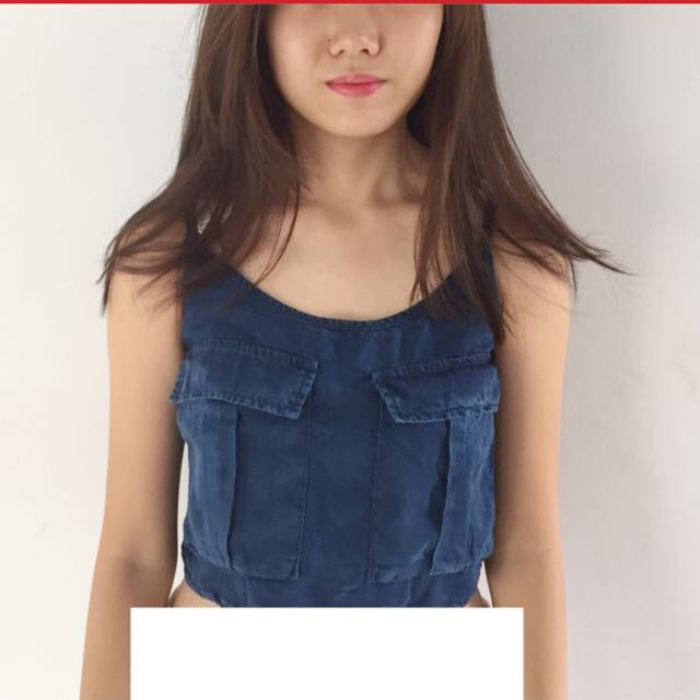 Pull & Bear denim croptop