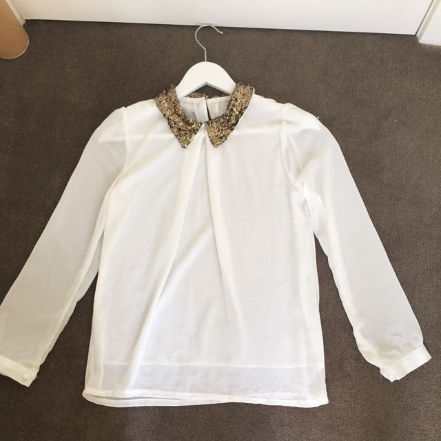 Size S White Sheer Long Sleeve With Gold Sequence Collar Detailing