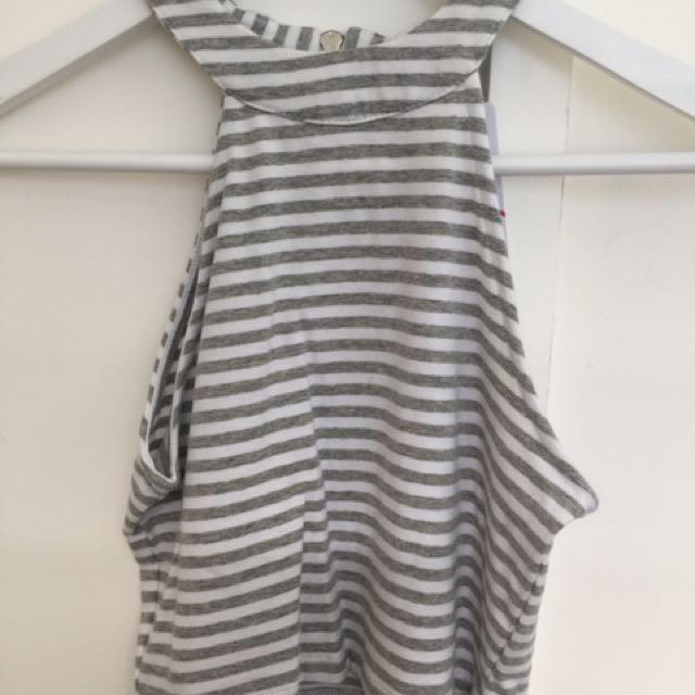 Size XXS/6 High Neck Crop Lgt Grey Stripe