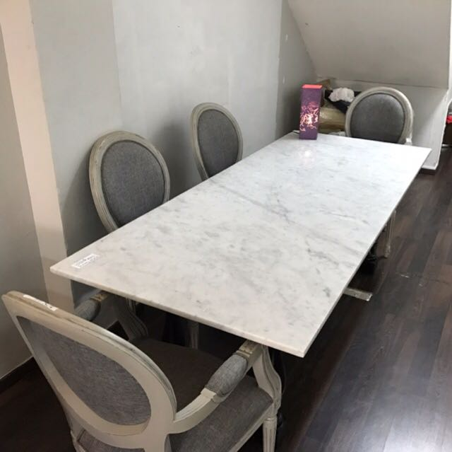Solid Italian Marble Top 6 Seater Dining Table Furniture Tables