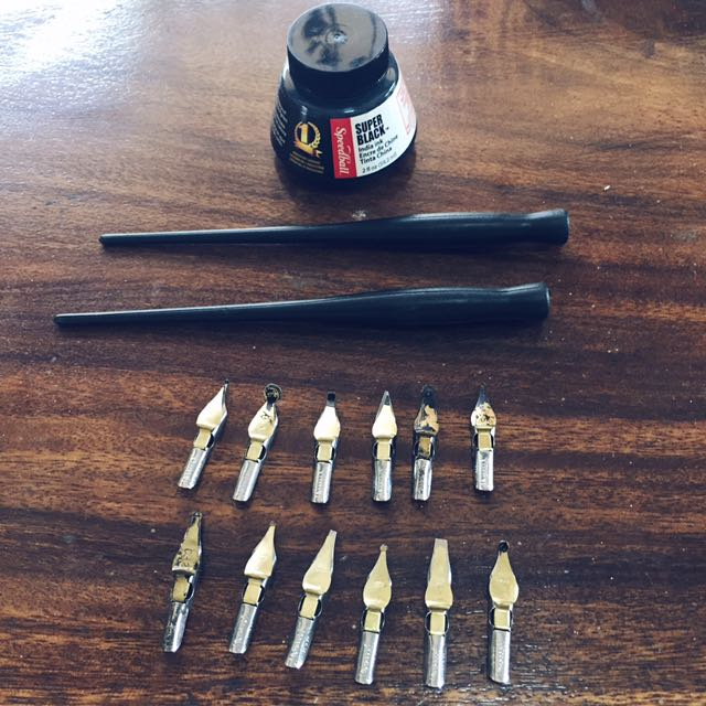 Speedball Set (Ink, Nibs, & Pen Nib Holder)