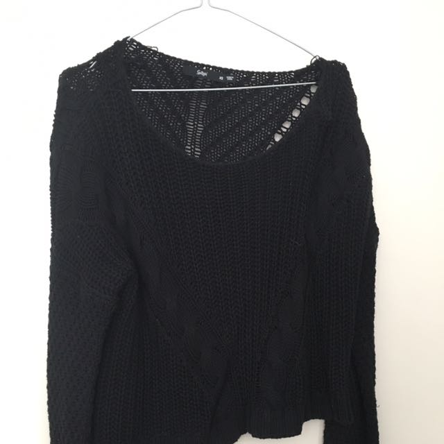 Sportsgirl Black Cropped Jumper
