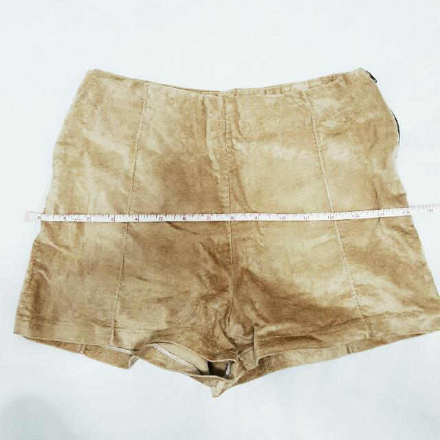 Tan Suede Highwaist Shorts