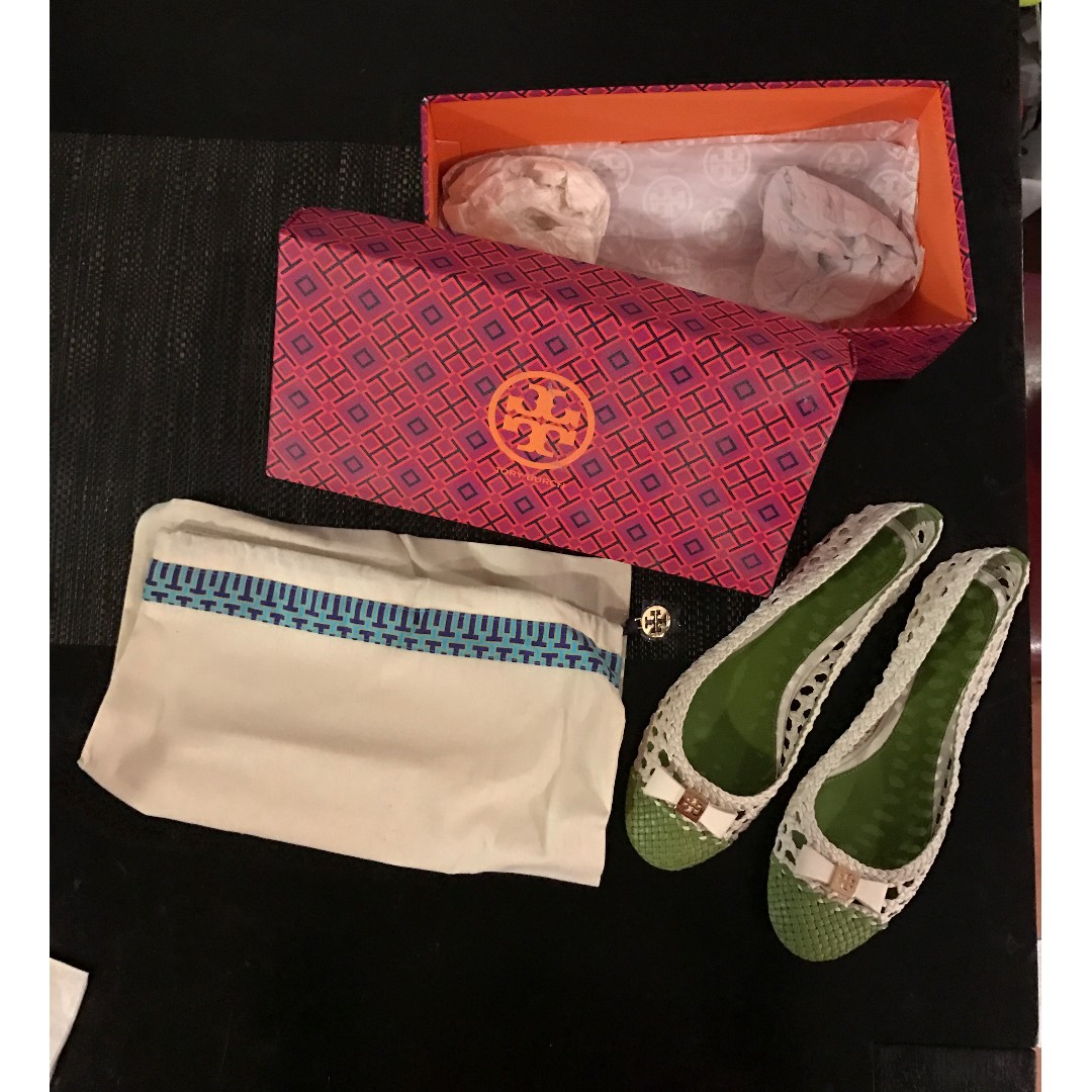 Tory Burch - Carlyle Woven Leather Ballerina Flat Carlyle Flat – Ivory/Leaf Green – Size 8 – BRAND NEW