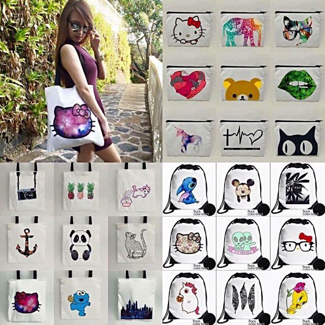 Tote Bag, String Bag, Body Bag & Pouches