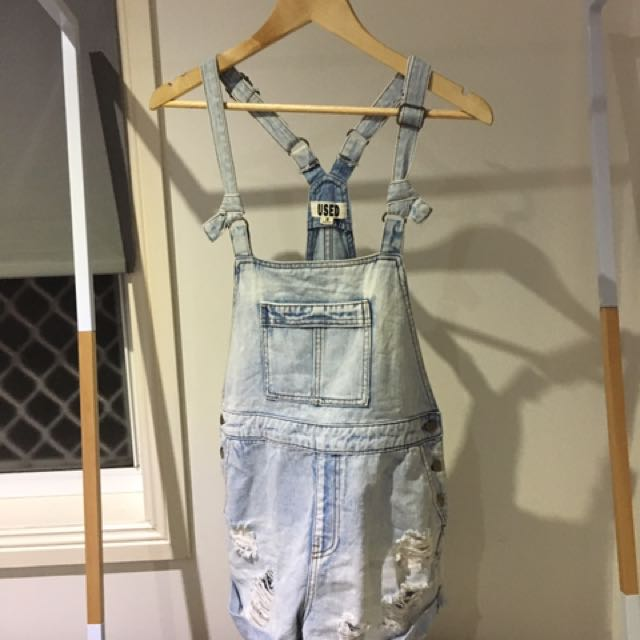 USED Distressed Denim Overall