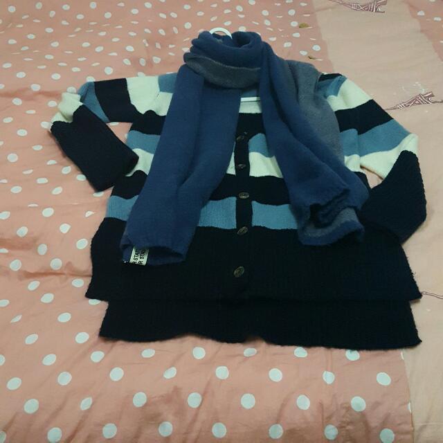 【正韓】V領開襟橫藍色調 條紋羊毛針織造型外套