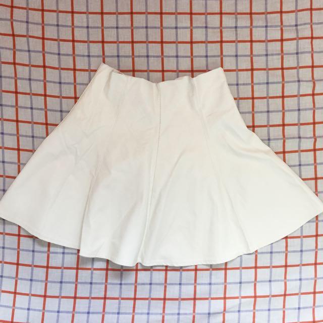 White Leatherette High Waist Skirt