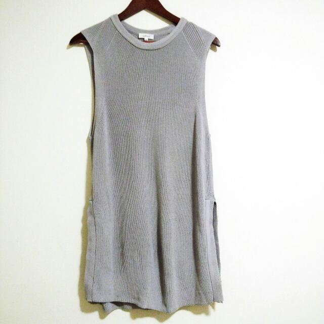 Wilfred Aritzia Dove Grey Knit Sleeveless Tunic Size Large