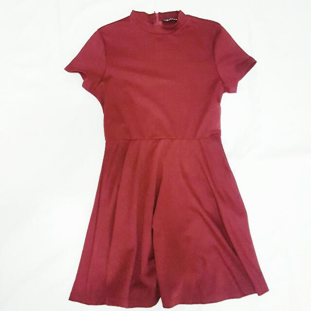 Zalora Maroon Mock Neck Dress