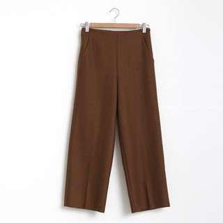 呢料直筒寬褲