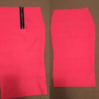 Boohoo Fluro Pink Midi Skirt Size UK 8 For $5!! Worn Twice - In Great Condition :)