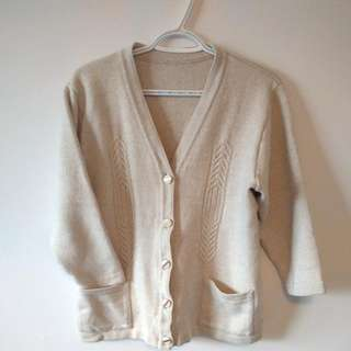 Cream Sweater With Gold Details