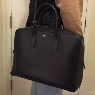 AUTHENTIC Saint Laurent CLASSIC MUSEUM FLAT BRIEFCASE IN BLACK GRAIN DE POUDRE TEXTURED LEATHER