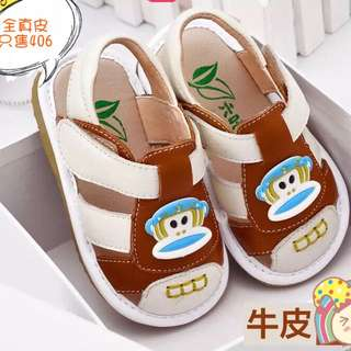 預購7折 1-3歲 真皮牛皮男童夏季卡通猴子防滑軟底包頭學步鞋叫叫鞋啾啾鞋