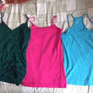 Blue And Pink Tanktop And Green Dress
