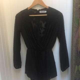 Reverse Black Lace/sheer Jumpsuit