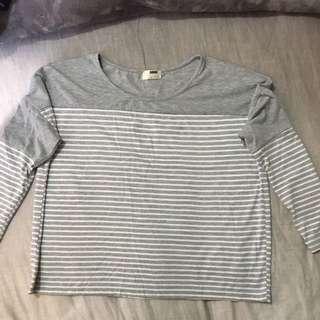 'Rumor' Basic Grey And White Striped Long Sleeve