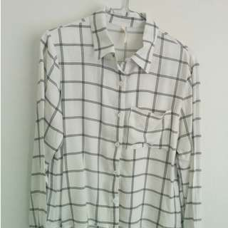 White button-down with black check detail