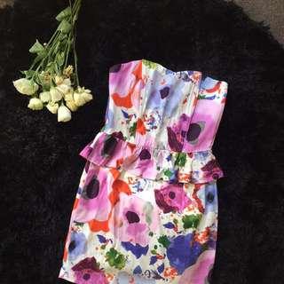 Size XS Strapless Floral Dress