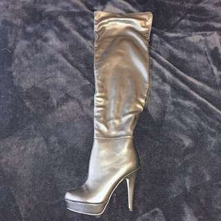 Knee High Black PU Boots