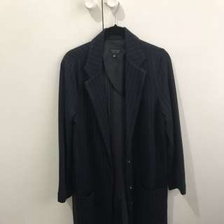 Topshop Coat-navy Striped Size 10