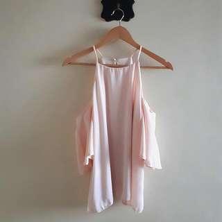 Pale peach cold shoulder bakuna blouse