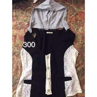 日本小店購入-蕾絲黑白拼貼背心上衣