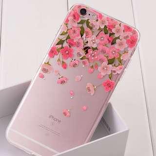 全新 iPhone 6 粉紅櫻花水鑽軟膠電話殼