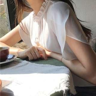 微透手臂荷葉設計遮肉肉顯瘦白色T恤