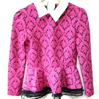 Long Sleeves Pink and Blue with Collar