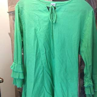 cotton blouse in green color
