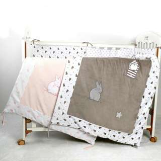 Velvet baby crib bedding comforter with rabbit embroidery & cotton back fabric quilt cover