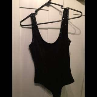 Forever New Black Fully Sequinned Bodysuit