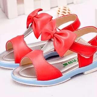 預購7折 2-4歲 真皮牛皮女寶寶夏季蝴蝶結防滑軟底涼鞋公主鞋
