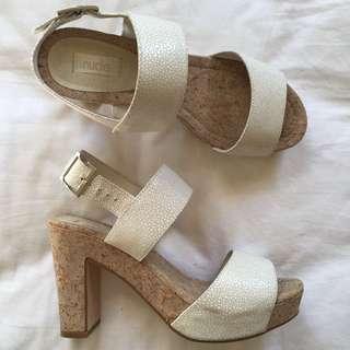 White Flatform Heels Size 38
