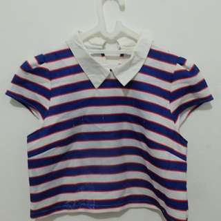 stripes crop top shirt