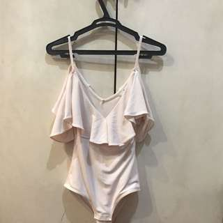 EverNew Pale Pink Sleeveless Body Suit With Ruffles