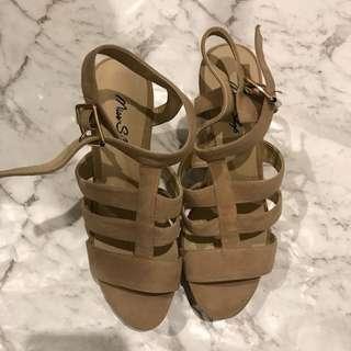 Miss Shop Suede Sandal Wedge