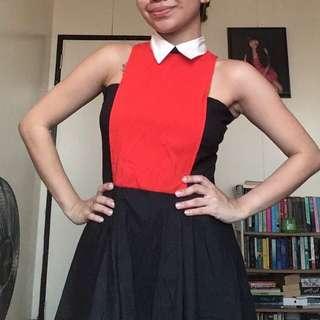 Meg Collared Orange Dress
