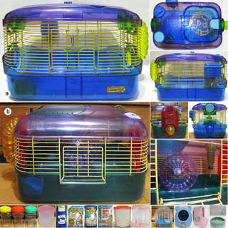 Super Pet 鼠籠 互動籠、Marukan 外出籠提籠/沐浴鼠廁砂、恐龍陶瓷窩、馬桶便盆、食盆、原木鼠窩、鋼珠水瓶、凝結貓砂、塑膠筒 空筒 塑膠罐、散熱板