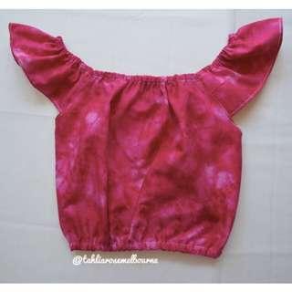 Pink Tie Dye Peasant Top