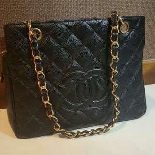 very good condition Chanel petite timeless tote ptt in black caviar and ghw