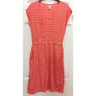 Old Navy Orange Stripes Dress
