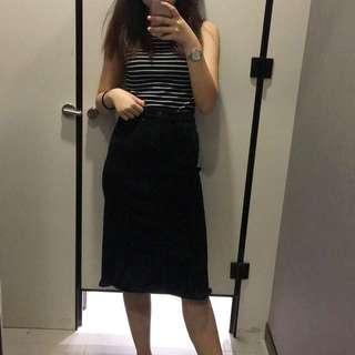 Yishion Black Denim Midi Skirt