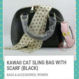 KAWAII CAT SLING BAG with SCARF