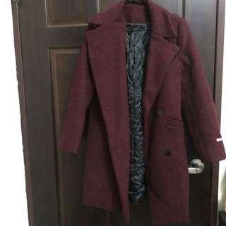 酒紅長版大衣外套