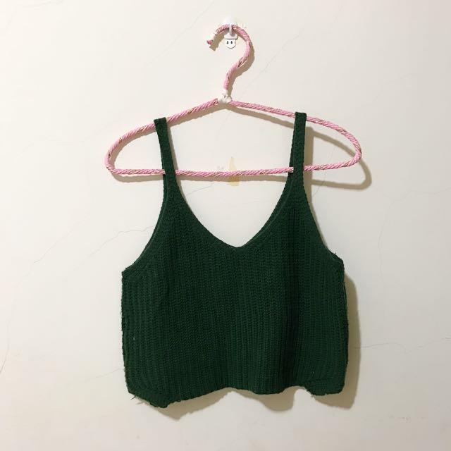 墨綠色吊帶針織背心